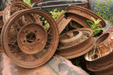 rusted wheel rims poster