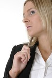 attractive business woman holding pen thinking poster