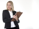 business woman holding chart taking notes poster