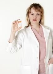 lady pharmacist showing a prescription
