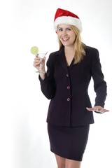 attractive woman holding a martini at office chris