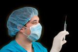 doctor holding a syringe poster