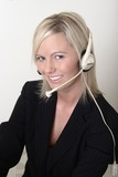 pretty lady switchboard operator wearing headset poster
