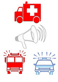 emergency vehicle icons poster