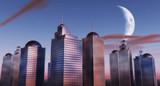 skyscrapers night scene poster