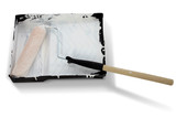 paint roller covered in white paint with clipping poster