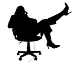 silhouette with clipping path of woman in chair on poster