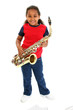 young girl and saxaphone