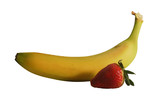 banana and strawberry with path poster