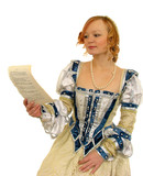red-haired girl reading the paper poster