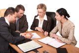 business meeting of 4 persons - isolated poster