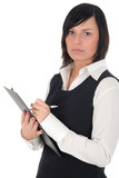 businesswoman writing on a clipboard with a pen poster