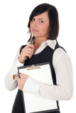 businesswoman with clipboard and pen poster