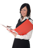 businesswoman holding a binder poster