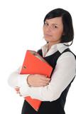 businesswoman holding a binder poster
