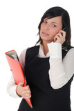 businesswoman using a mobile phone poster