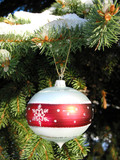 christmas ornament on fir tree 1 poster