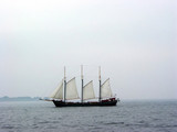 tall ship on a foggy day poster