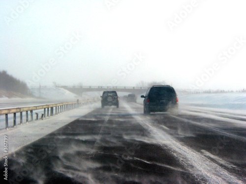 winter highway during snow storm