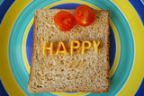 happy word on toast poster