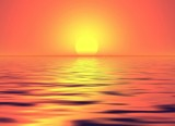 orange sunset above the sea poster
