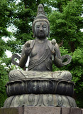 buddha statue in tokyo poster