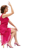woman in a pink dress posing poster