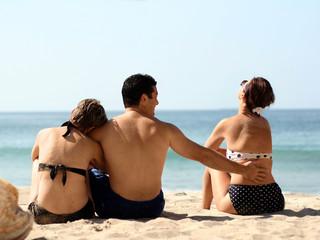 love triangle on the beach