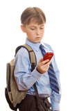 boy using a mobile phone poster