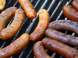 sausages on bbq poster