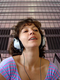 attractive woman listening to music poster