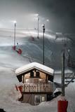 piste de ski de nuit poster