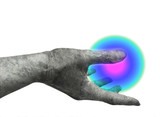 marble hand holding light ball poster