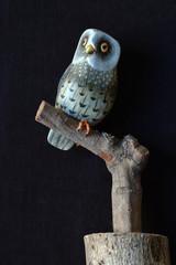 hibou en bois peint