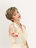woman in a formal dress having a glass of wine poster