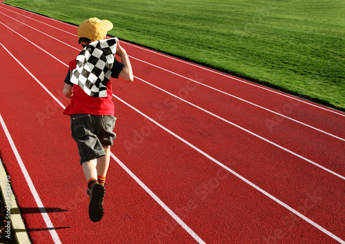 boy on a racetrack
