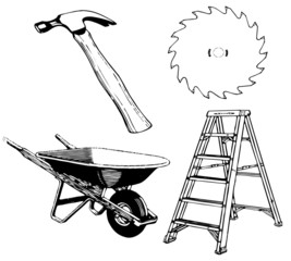 tools - hammer ladder sawblade wheelbarrow with working paths 20