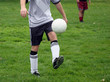 man with a ball on a soccer field