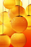 abstract pattern of yellow and orange circles poster