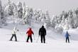 family skiing downhill