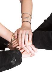 business teamwork - hands on white