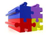 coloured puzzle pieces poster
