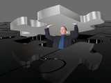business man pushing puzzle up poster