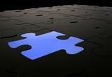 blue puzzle piece amongst black pieces poster