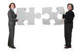 business women - puzzle pieces poster