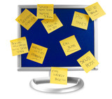 flatscreen monitor with notes written on it poster