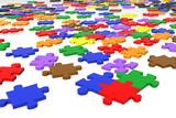 multicolour puzzle pieces poster