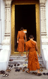 monks entering a temple poster