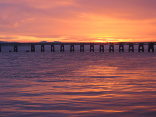 tay rail bridge at dusk