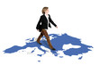 businesswoman walking on europe map